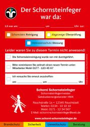 Hinweiszettel für Schornsteinfeger