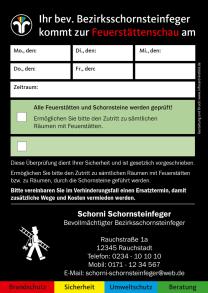 Anmeldezettel / Ansagezettel Feuerstättenschau